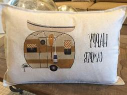 Happy Camper Pillow Lumbar 12 x 18 inches vintage, trailer r
