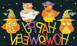 Happy Halloween Owls in Cute Costumes 30 X 18 Inch Floormat