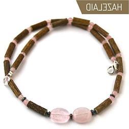 """Hazelaid  Adult Hazelwood-Gemstone Necklace - 18"""" Rose Quart"""
