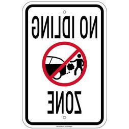 Heavy Gauge No Idling Zone Sign 12 x 18 inch Aluminum Signs