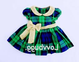 "Holiday Plaid Dress Bow for Bitty Baby 15"" American Girl 18"