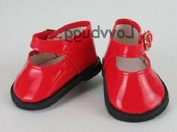 Holiday Red Patent Mary Janes for 18 inch Doll Shoes America