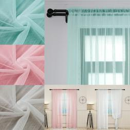 Home 2 Panels Window Sheer Curtains Solid See Through Curtai