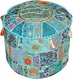 Indian Handmade 18 inch Round Stool Ottoman Ethnic Patchwork