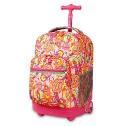 J World New York Sunrise 18-inch Wheeled Rolling Backpack Up