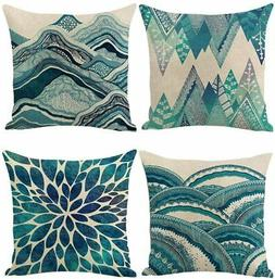 Jasfura Set of 4 Teal Throw Pillow Covers 18x18 Inch Summer