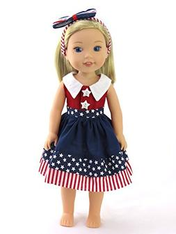 "American Fashion World 4th of July Dress| Fits 14"" Wellie Wi"