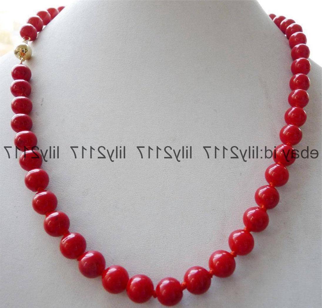 100% Genuin natural 14K 8mm Red Sea Coral Gems Round Bead Ne