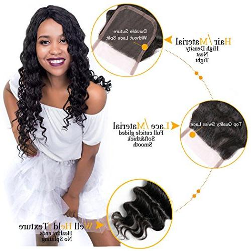 QTHAIR 10A Peruvian Deep Wave Lace Closure Loose Deep Human Hair Middle Part Lace