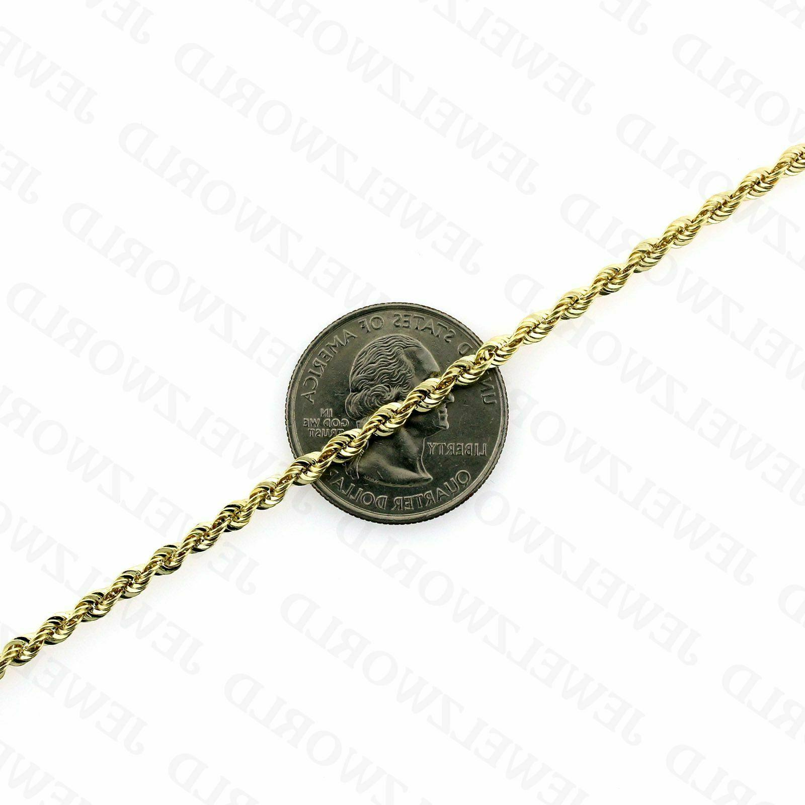 """10K Solid Necklace Gold Rope 2.5mm 16"""" 22"""" 24"""""""