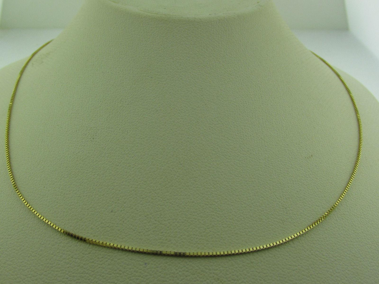 10kt Solid Yellow Gold Box Necklace 18 inch 1.3