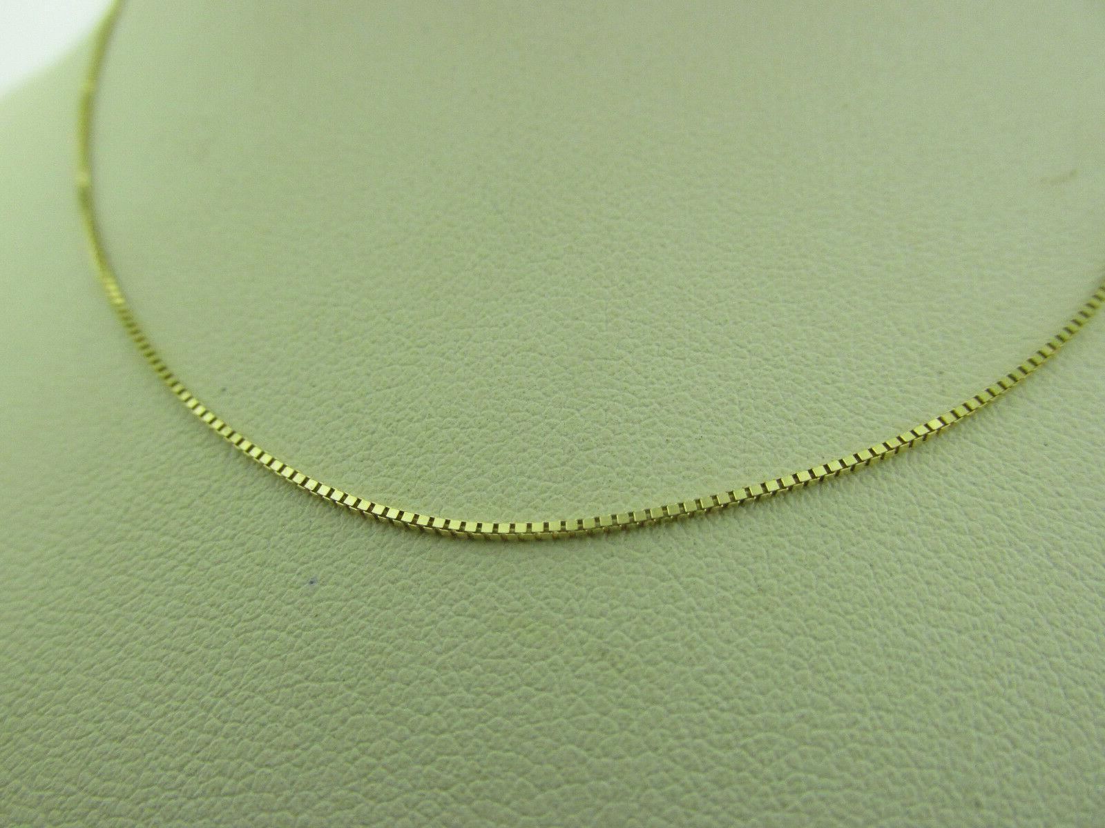 10kt Solid Yellow Box Chain Necklace 18