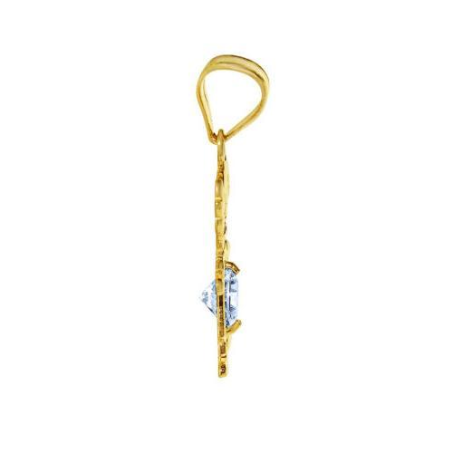 14k Yellow Round-cut CZ Pendant Necklace