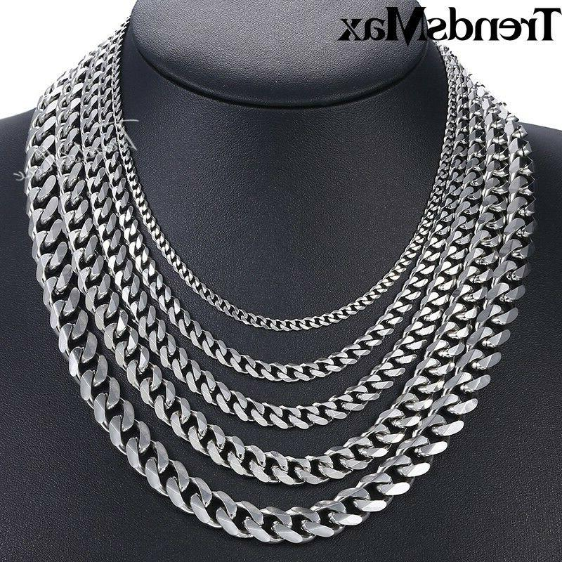 """16""""-36"""" Stainless Silver Chain Cuban Mens Necklace"""
