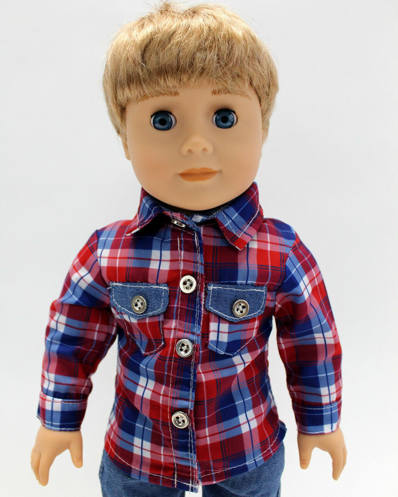 18 Boy Outfit Plaid Shirt Jeans Set