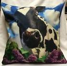 18 Inch Cow With Lilac Flower PillowCase/Zipperclosure/Home