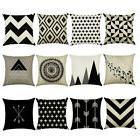 18 inch Cushion Cover Black White Cotton Linen Throw Geometr