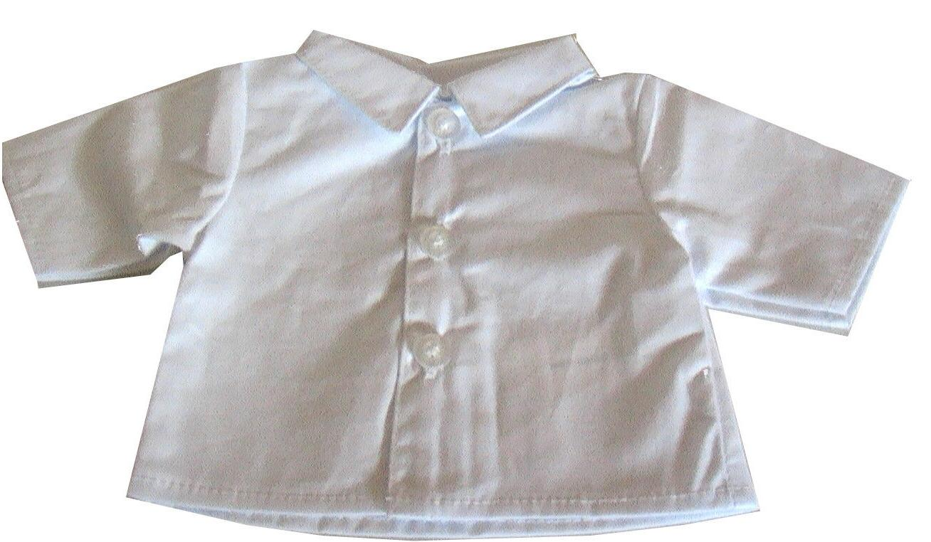 18 inch doll white button front shirt