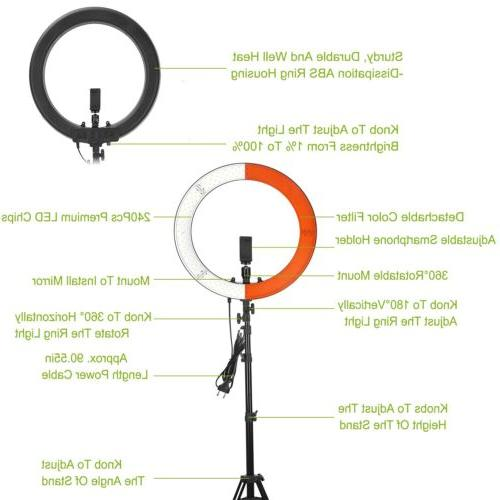 """18"""" inch Ring Light Dimmable 3200K-5600K Tripod Stand &"""