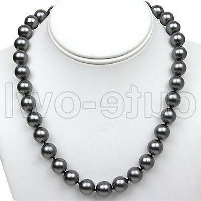 "18 ""Inch Round Black Shell Pearl Necklace with Large 12mm"