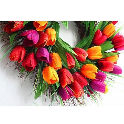 18 tulip front door and wall-mounted flower: