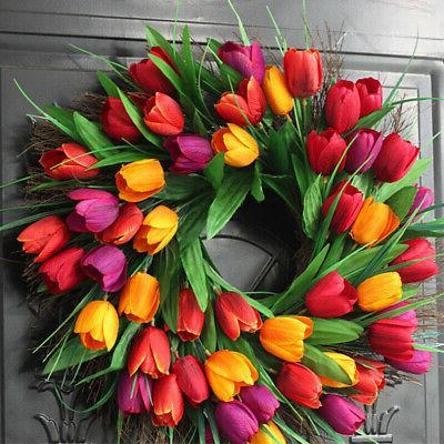 18 inch tulip garland front door and window wall-mounted gif