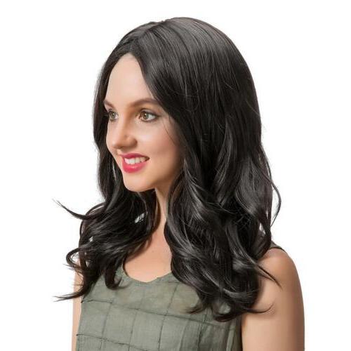 18 inch women medium length black synthetic