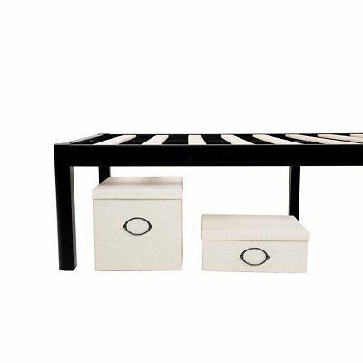 intelliBASE 18 Wood Slat Black Bed Frame w/ Queen