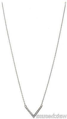 MICHAEL KORS 18 inches Crystal Pave V Shape Stainless Steel
