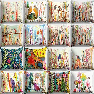 18inch bird flower pillow case sofa living