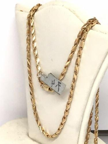 18k Yellow Cut Link Necklace 20 Inches
