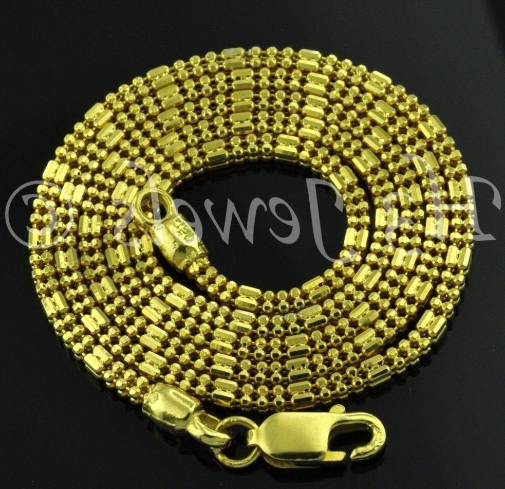 18k yellow gold  square bead diamond cut chain necklace 16 i