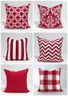 18x18 inches Red Pillow Cover, Christmas Holiday Red and Whi