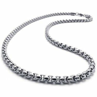 """4.0 mm 16""""-40"""" Silver Stainless Steel Square Rolo Necklace C"""