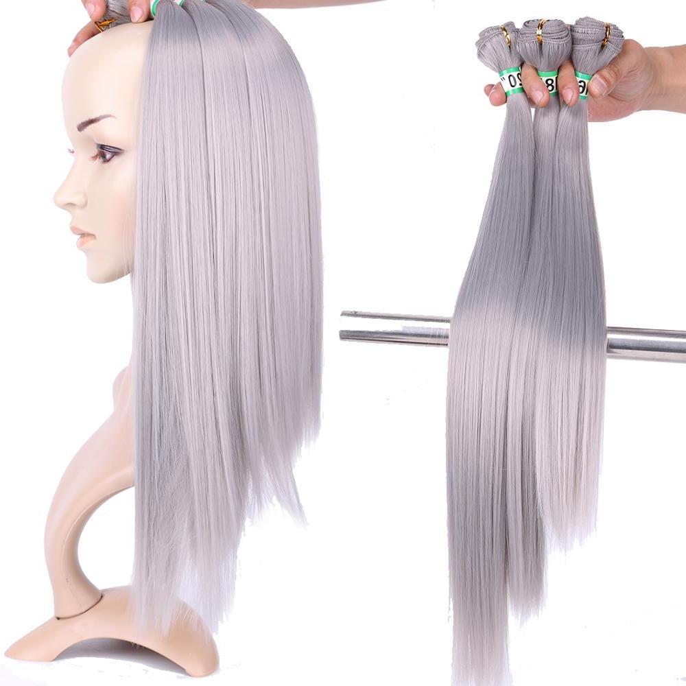 2 pcs/lot bundle 16 <font><b>inches</b></font> temperature synthetic hair women