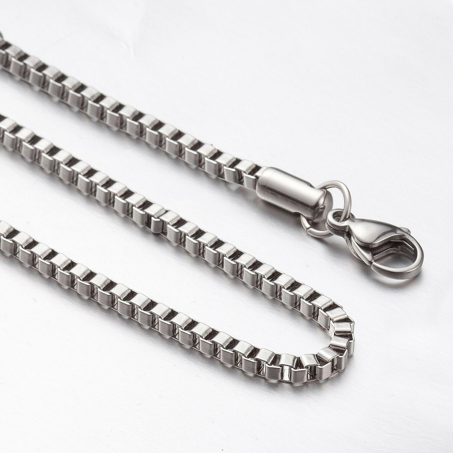 "2.4mm 16""-40"" Silver Stainless Steel Box Necklace Chain Sb80"