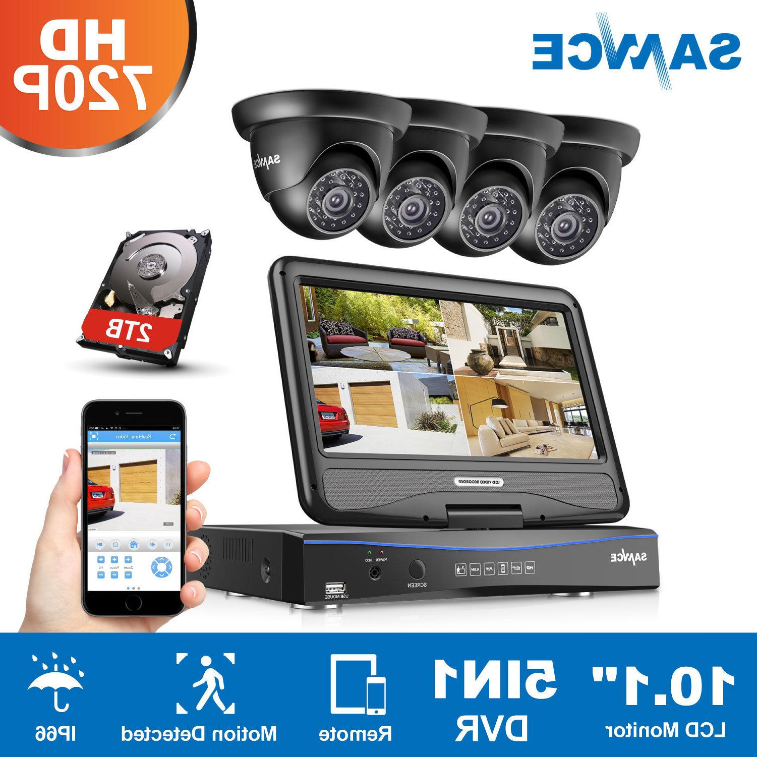 """SANNCE 10/"""" LCD Monitor 4CH 1080N DVR In// Outdoor Home Surveillance Camera System"""