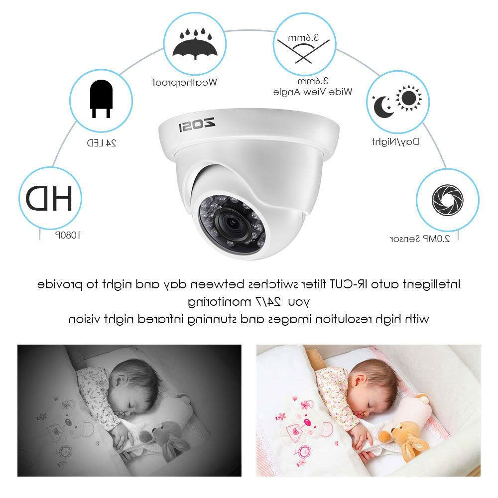 ZOSI 1080p 2MP Outdoor Security Camera System Drive