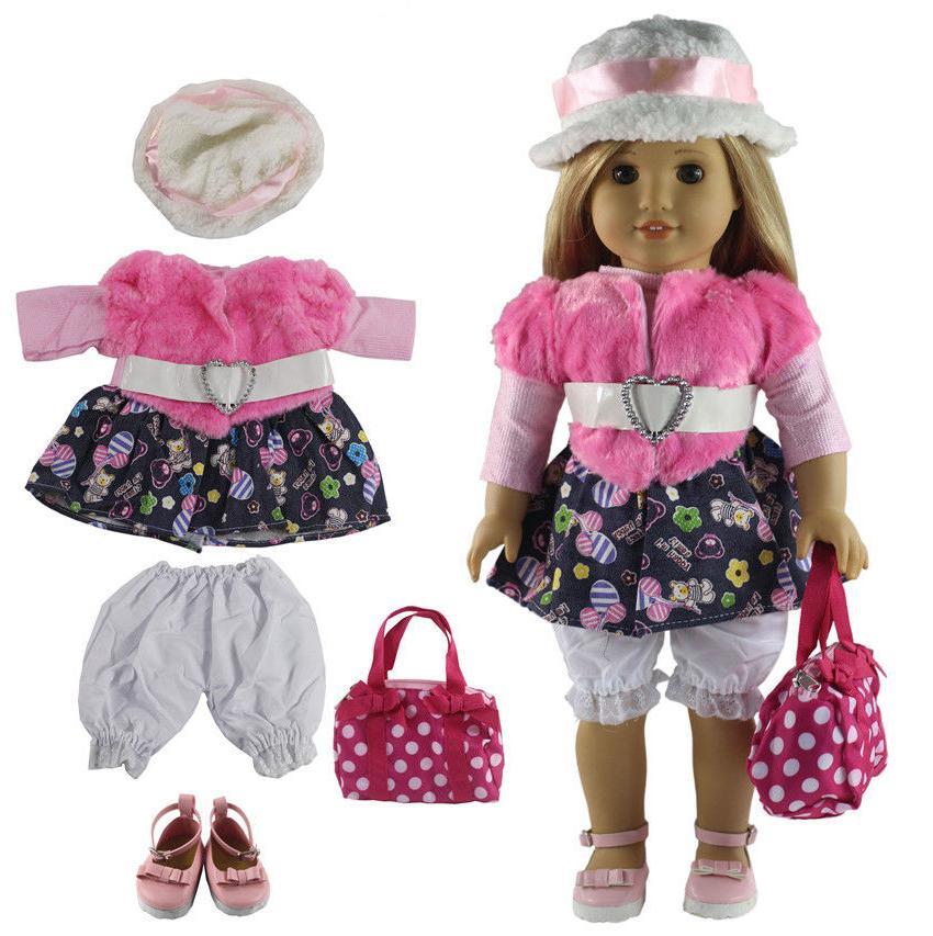 5 pcs doll outfit clothes shoes bag