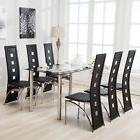 7 Piece Dining Table Set and 6 Chairs Black Glass Metal Kitc