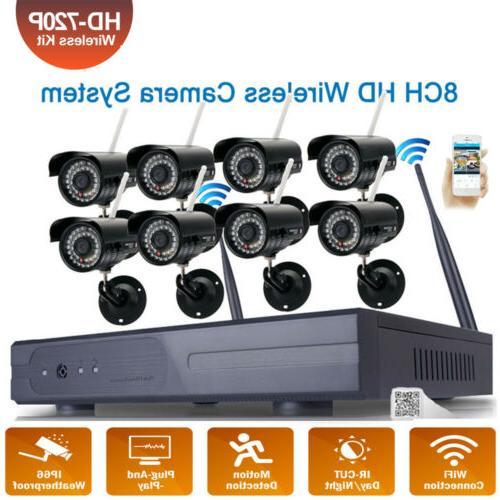8CH HD Wireless NVR IR-CUT Wifi IP Camera Home Security Syst