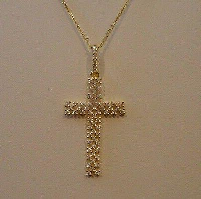 925 GOLD PLATED CROSS PENDANT W/ INCH