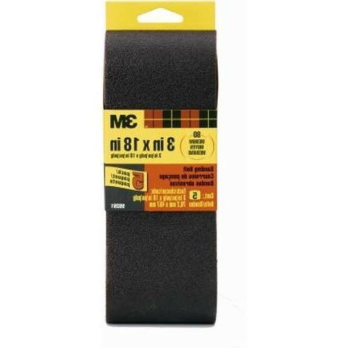 3M 99261NA Sanding Belt Medium 80-Grit 3 by 18-Inch, 5-Pack