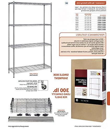 "Quantum Shelving Unit, 300 Load per Shelf, W 18"" Chrome Finish"