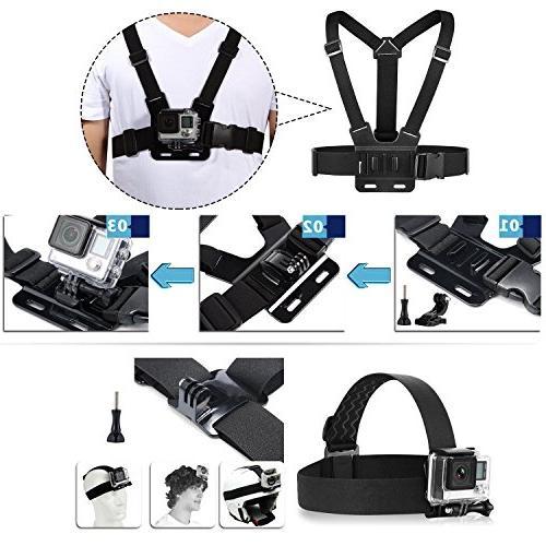 TEKCAM Sport Accessories Kit Gopro 7/ EK7000 Brave V50/ Crosstour/Campark Waterproof Camera