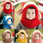 Baby Toddler Girls Boys Warm Hat Winter Beanie Hooded Scarf