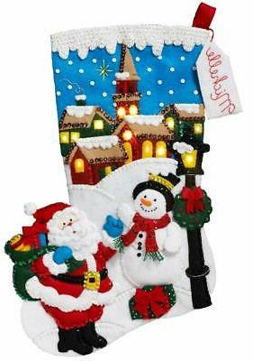 bucilla 18 inch christmas stocking felt applique