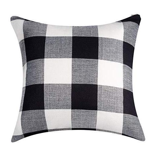 ANCIRS Plaid Check Throw Cover,18 Classic Retro Cushion Sofa Pillowcase 100% Cotton Linen for Body