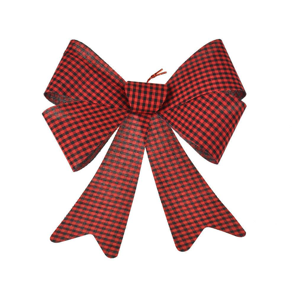 cabin checkered plastic christmas bow red 18