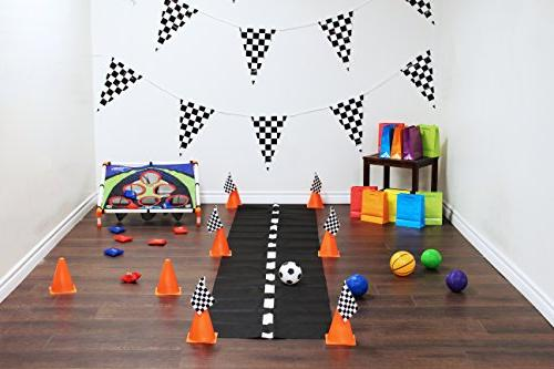 Adorox Racetrack Banner & 1Pk Racetrack Runner & 12pc & 72pc mini Flags Party Supply